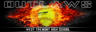 Panoramic Team Softball Banner Photography Template - On Fire