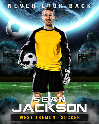 16X20 SPORTS PHOTO TEMPLATE - SPACE SOCCER - PHOTOSHOP LAYERED SPORTS TEMPLATE
