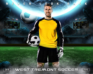 SPORTS POSTER PHOTO TEMPLATE - HORIZONTAL - SPACE SOCCER