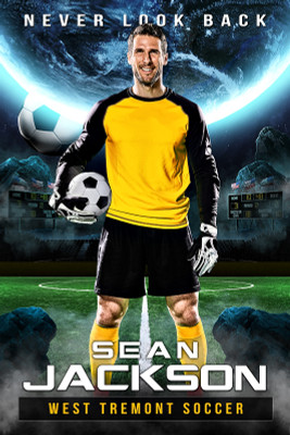 PLAYER BANNER PHOTO TEMPLATE - SPACE SOCCER - PHOTOSHOP LAYERED SPORTS TEMPLATE