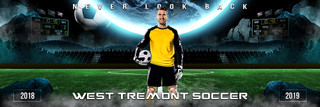 PANORAMIC SPORTS BANNER TEMPLATE - SPACE SOCCER - LAYERED PHOTOSHOP SPORTS TEMPLATE