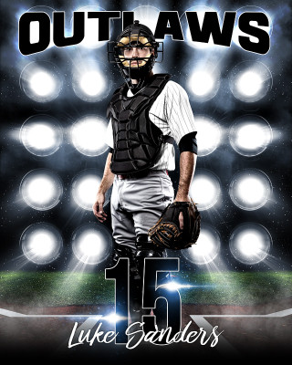 16X20 SPORTS PHOTO TEMPLATE - BASEBALL LIGHTS - PHOTOSHOP LAYERED SPORTS TEMPLATE