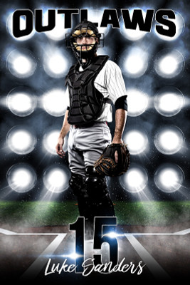 PLAYER BANNER PHOTO TEMPLATE - BASEBALL LIGHTS - PHOTOSHOP LAYERED SPORTS TEMPLATE