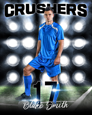 16X20 SPORTS PHOTO TEMPLATE - SOCCER LIGHTS - PHOTOSHOP LAYERED SPORTS TEMPLATE