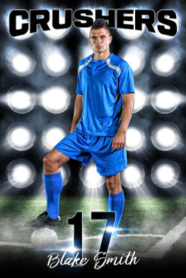 PLAYER BANNER PHOTO TEMPLATE - SOCCER LIGHTS - PHOTOSHOP LAYERED SPORTS TEMPLATE