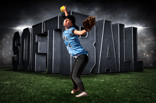 PLAYER & TEAM BANNER PHOTO TEMPLATE - HORIZONTAL - SURREAL SOFTBALL