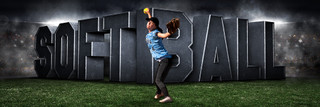 PANORAMIC SPORTS BANNER TEMPLATE - SURREAL SOFTBALL - LAYERED PHOTOSHOP SPORTS TEMPLATE