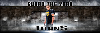 PANORAMIC SPORTS BANNER TEMPLATE - GUARD THE YARD - PHOTOSHOP LAYERED SPORTS TEMPLATE