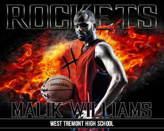 16x20 Basketball Photo Template - On Fire