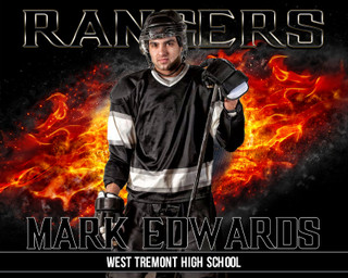 16x20 Hockey Photo Template - On Fire