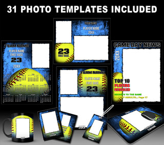 SOFTBALL GRUNGE COLLECTION - PHOTOSHOP SPORTS TEMPLATE COLLECTION
