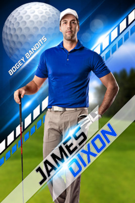 PLAYER BANNER PHOTO TEMPLATE - GOLF II - CUSTOM PHOTOSHOP LAYERED SPORTS TEMPLATE