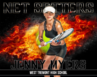 16x20 Tennis Photo Template - On Fire
