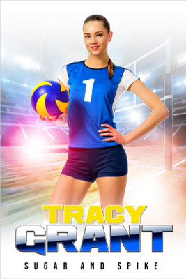 PLAYER BANNER PHOTO TEMPLATE - HI KEY VOLLEYBALL - CUSTOM PHOTOSHOP LAYERED SPORTS TEMPLATE