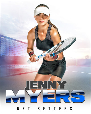 SPORTS POSTER PHOTO TEMPLATE - HI KEY TENNIS - CUSTOM PHOTOSHOP LAYERED SPORTS TEMPLATE