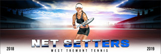 PANORAMIC SPORTS BANNER TEMPLATE - HI KEY TENNIS - CUSTOM LAYERED PHOTOSHOP SPORTS TEMPLATE