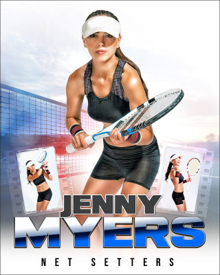 HI KEY TENNIS 16x20 PHOTO COLLAGE - CUSTOM LAYERED PHOTOSHOP SPORTS TEMPLATE