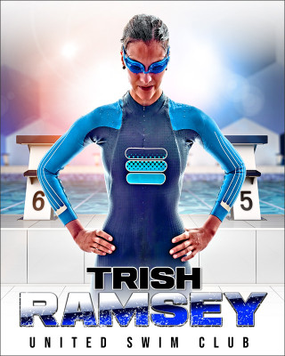 SPORTS POSTER PHOTO TEMPLATE - HI KEY SWIM - CUSTOM PHOTOSHOP LAYERED SPORTS TEMPLATE