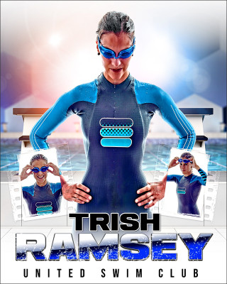 HI KEY SWIM 16x20 PHOTO COLLAGE - CUSTOM LAYERED PHOTOSHOP SPORTS TEMPLATE