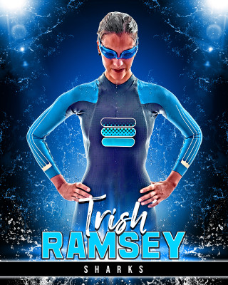 SPORTS POSTER PHOTO TEMPLATE - AQUA II - CUSTOM PHOTOSHOP LAYERED SPORTS TEMPLATE