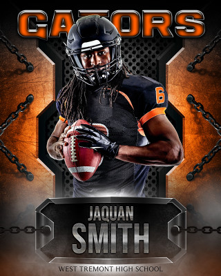 16x20 MULTI-SPORT POSTER - METAL AND CHAINS - CUSTOM PHOTOSHOP LAYERED SPORTS TEMPLATE