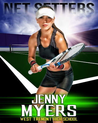 16x20 Sports Photo Template - Tennis Court