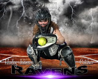 SPORTS POSTER PHOTO TEMPLATE - SOFTBALL - DESTRUCTION