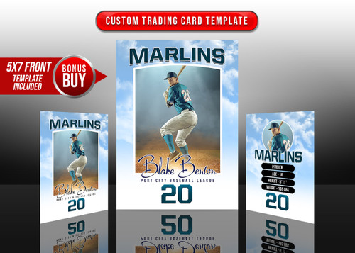 SPORTS TRADING CARDS AND 5X7 TEMPLATE - CLOUDY