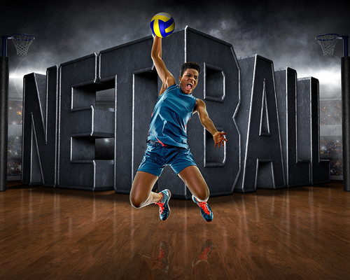 SPORTS POSTER TEMPLATE - SURREAL NETBALL - PHOTOSHOP LAYERED SPORTS TEMPLATE