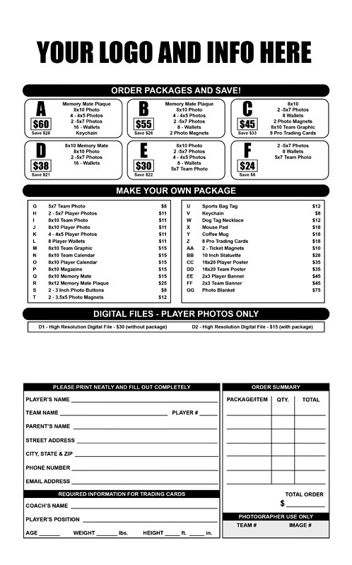 youth sports photography templates - sports photography order form