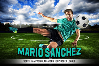 PLAYER & TEAM BANNER PHOTO TEMPLATE - CENTER CIRCLE - PHOTOSHOP LAYERED SPORTS TEMPLATE