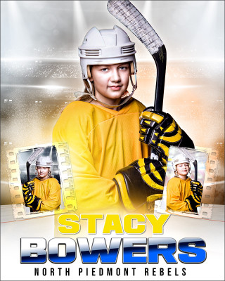 HI KEY HOCKEY 16x20 PHOTO COLLAGE - CUSTOM LAYERED PHOTOSHOP SPORTS TEMPLATE
