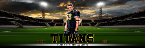 PANORAMIC SPORTS BANNER TEMPLATE - HOME FIELD - FOOTBALL - CUSTOM LAYERED PHOTOSHOP SPORTS TEMPLATE