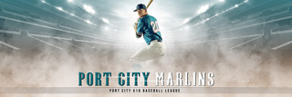 PANORAMIC SPORTS BANNER TEMPLATE - FADE OUT - PHOTOSHOP LAYERED SPORTS TEMPLATE
