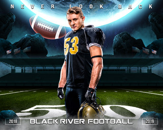 16X20 SPORTS PHOTO TEMPLATE - SPACE FOOTBALL - PHOTOSHOP LAYERED SPORTS TEMPLATE