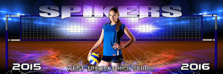 Panoramic Sports Team Banner Photography Template - Electric Volleyball