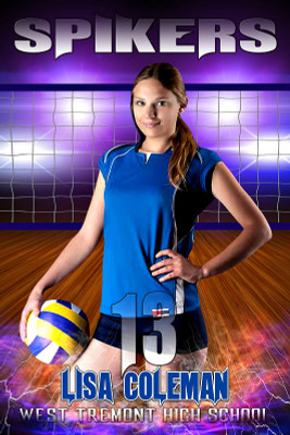 Player Banner Photo Template - Electric Storm Volleyball