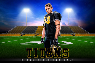 PLAYER & TEAM BANNER PHOTO TEMPLATE - HOME TURF - FOOTBALL - CUSTOM PHOTOSHOP LAYERED SPORTS TEMPLATE