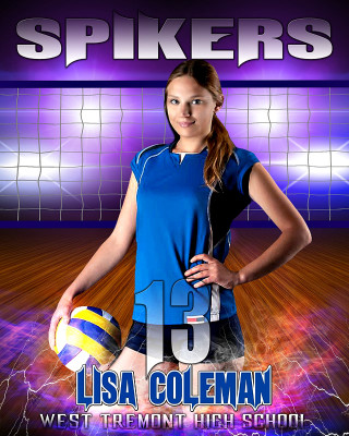 16x20 Sports Photo Template - Electric Storm Volleyball