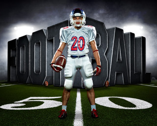 SPORTS POSTER PHOTO TEMPLATE - SURREAL FOOTBALL - CUSTOM PHOTOSHOP LAYERED SPORTS TEMPLATE