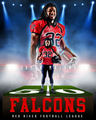 16x20 SPORTS POSTER PHOTO TEMPLATE - RED RIVER - CUSTOM PHOTOSHOP LAYERED SPORTS TEMPLATE