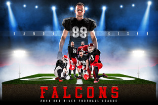 PLAYER BANNER PHOTO TEMPLATE FOOTBALL AND OTHER FIELD SPORTS - RED RIVER - CUSTOM PHOTOSHOP LAYERED SPORTS TEMPLATE
