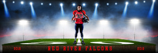 FOOTBALL PANORAMIC SPORTS BANNER TEMPLATE - RED RIVER - CUSTOM LAYERED PHOTOSHOP SPORTS TEMPLATE