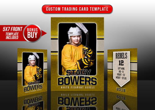SPORTS TRADING CARDS AND 5X7 TEMPLATE - STITCHED