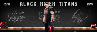 FOOTBALL PANORAMIC SPORTS BANNER TEMPLATE - FOOTBALL CHALK - CUSTOM LAYERED PHOTOSHOP SPORTS TEMPLATE