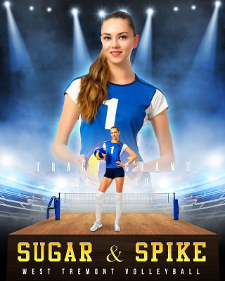16x20 SPORTS POSTER PHOTO TEMPLATE - VOLLEYBALL UPRISE - CUSTOM PHOTOSHOP LAYERED SPORTS TEMPLATE