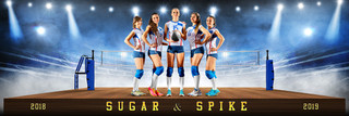 VOLLEYBALL PANORAMIC SPORTS BANNER TEMPLATE - VOLLEYBALL UPRISE - CUSTOM LAYERED PHOTOSHOP SPORTS TEMPLATE