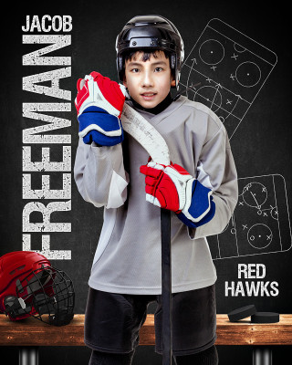 16x20 SPORT POSTER PHOTO TEMPLATE - HOCKEY CHALK - CUSTOM PHOTOSHOP LAYERED SPORTS TEMPLATE