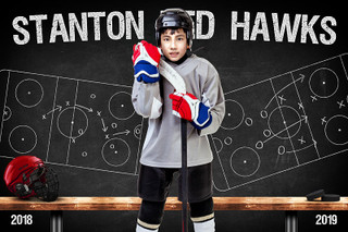 HOCKEY PLAYER BANNER PHOTO TEMPLATE - HOCKEY CHALK - CUSTOM PHOTOSHOP LAYERED SPORTS TEMPLATE