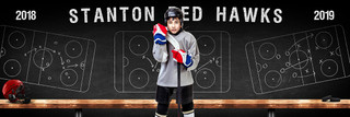 HOCKEY PANORAMIC SPORTS BANNER TEMPLATE - HOCKEY CHALK - CUSTOM LAYERED PHOTOSHOP SPORTS TEMPLATE